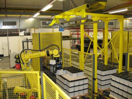 Robotized depalletizing of car batteries